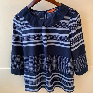 Modcloth Tops - ModCloth Navy stripe and dots blouse 3/4 sleeve M